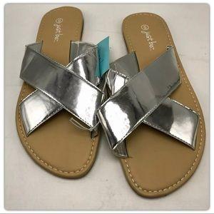 Shoes - Women's silver metallic sandal